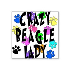 "Crazy Beagle Lady Square Sticker 3"" x 3"""