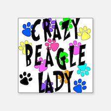 "Crazy Beagle Lady Square Sticker 3"" x 3"""