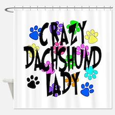 Crazy Dachshund Lady Shower Curtain