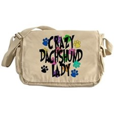 Crazy Dachshund Lady Messenger Bag