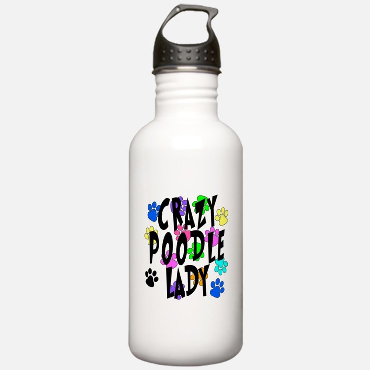 Crazy Poodle Lady Water Bottle