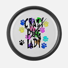 Crazy Pug Lady Large Wall Clock