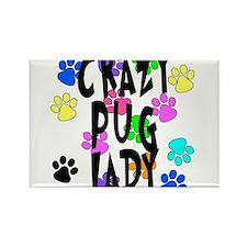 Crazy Pug Lady Rectangle Magnet