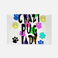 Crazy Pug Lady Rectangle Magnet
