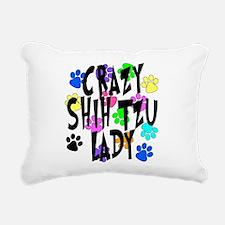 Crazy Shih Tzu Lady Rectangular Canvas Pillow