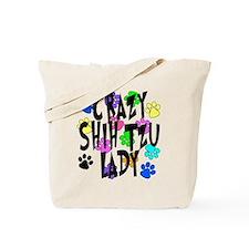 Crazy Shih Tzu Lady Tote Bag