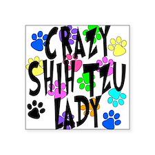 """Crazy Shih Tzu Lady Square Sticker 3"""" x 3"""""""