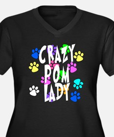 Crazy Pom Lady Women's Plus Size V-Neck Dark T-Shi