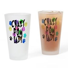 Crazy Pom Lady Drinking Glass