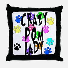 Crazy Pom Lady Throw Pillow