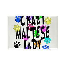 Crazy Maltese Lady Rectangle Magnet