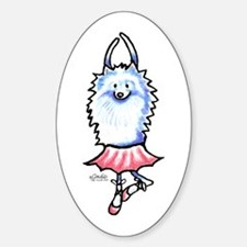 White Pomeranian Ballerina Decal