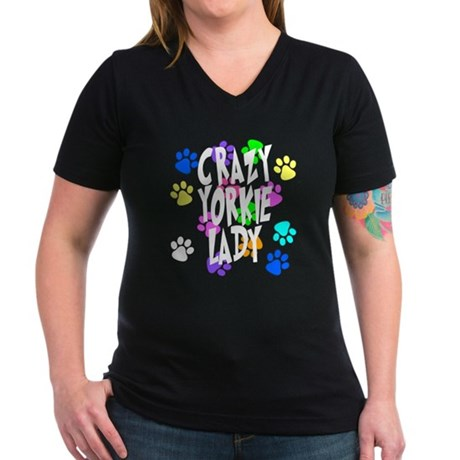 Crazy Yorkie Lady Women's V-Neck Dark T-Shirt