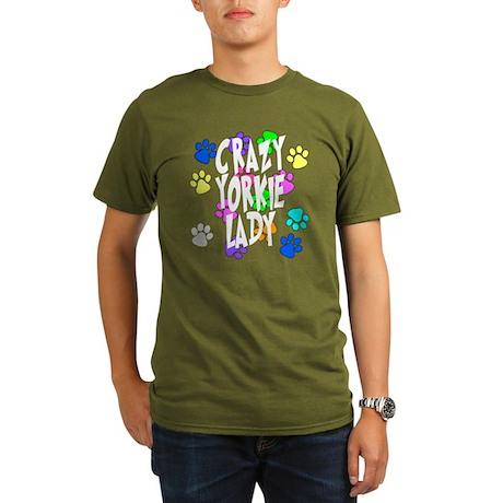 Crazy Yorkie Lady Organic Men's T-Shirt (dark)