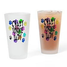 Crazy Yorkie Lady Drinking Glass