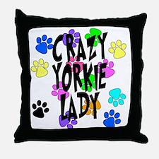 Crazy Yorkie Lady Throw Pillow
