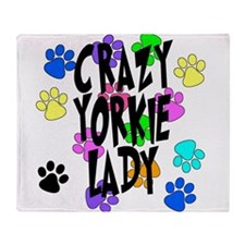 Crazy Yorkie Lady Throw Blanket