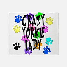 Crazy Yorkie Lady Throw Blanket