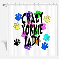 Crazy Yorkie Lady Shower Curtain