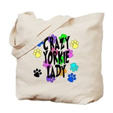 Crazy Yorkie Lady Tote Bag