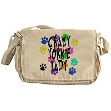 Crazy Yorkie Lady Messenger Bag