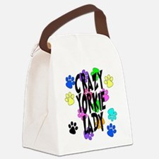 Crazy Yorkie Lady Canvas Lunch Bag