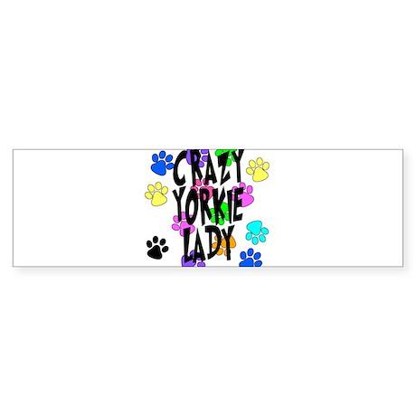 Crazy Yorkie Lady Sticker (Bumper)