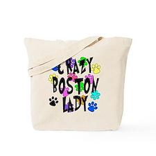 Crazy Boston Terrier Lady Tote Bag