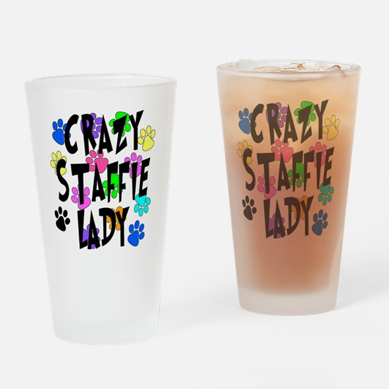 Crazy Staffie Lady Drinking Glass