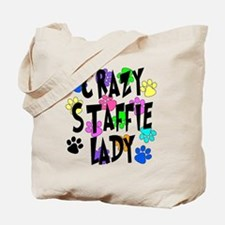 Crazy Staffie Lady Tote Bag
