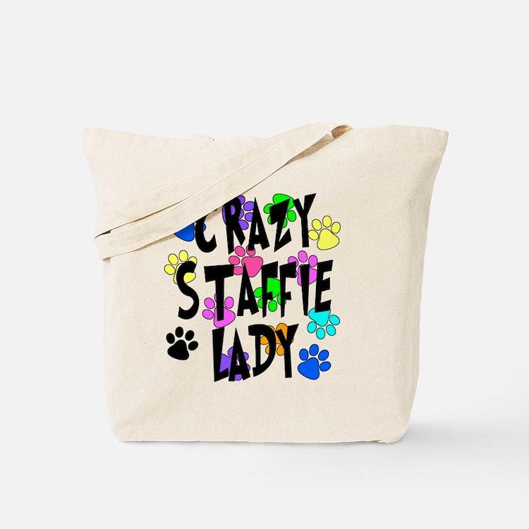 Crazy Staffie Lady Tote Bag