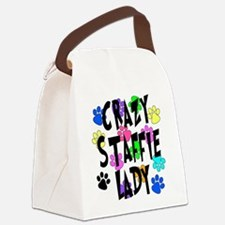 Crazy Staffie Lady Canvas Lunch Bag