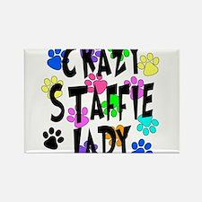 Crazy Staffie Lady Rectangle Magnet