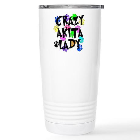 Crazy Akita Lady Stainless Steel Travel Mug