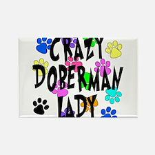 Crazy Doberman Lady Rectangle Magnet
