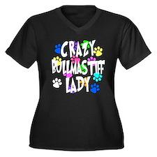 Crazy Bullmastiff Lady Women's Plus Size V-Neck Da
