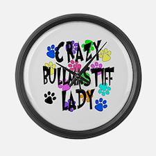 Crazy Bullmastiff Lady Large Wall Clock