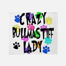 Crazy Bullmastiff Lady Throw Blanket