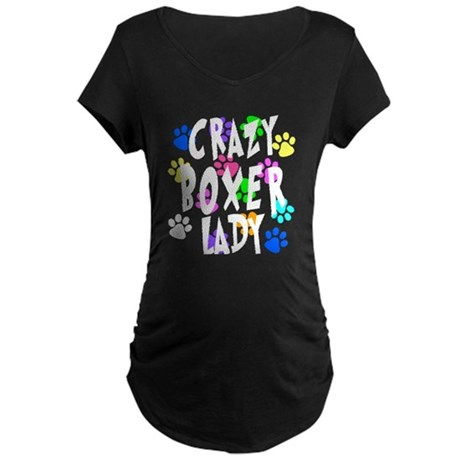 Crazy Boxer Lady Maternity Dark T-Shirt