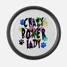 Crazy Boxer Lady Large Wall Clock