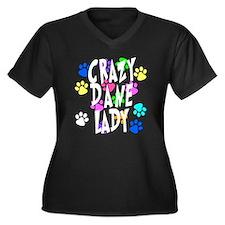 Crazy Dane Lady Women's Plus Size V-Neck Dark T-Sh