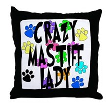 Crazy Mastiff Lady Throw Pillow
