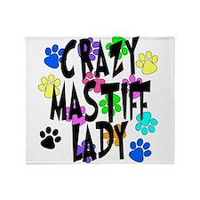 Crazy Mastiff Lady Throw Blanket