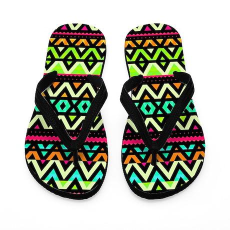 Neon Mix, Aztec Pattern Flip Flops
