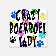 "Crazy Boerboel Lady Square Sticker 3"" x 3"""