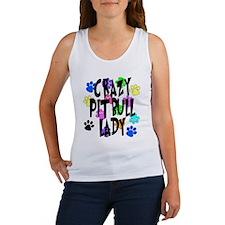 Crazy Pit Bull Lady Women's Tank Top