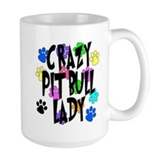 Crazy Pit Bull Lady Ceramic Mugs