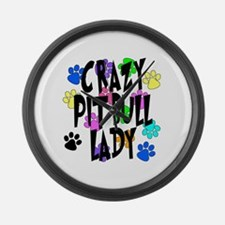 Crazy Pit Bull Lady Large Wall Clock