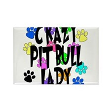 Crazy Pit Bull Lady Rectangle Magnet