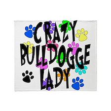 Crazy Bulldogge Lady Throw Blanket